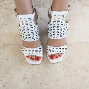 Calvin Klein White Block Heels